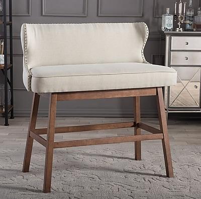 Corrigan Studio Isobel Upholstered Bar Bench; Beige