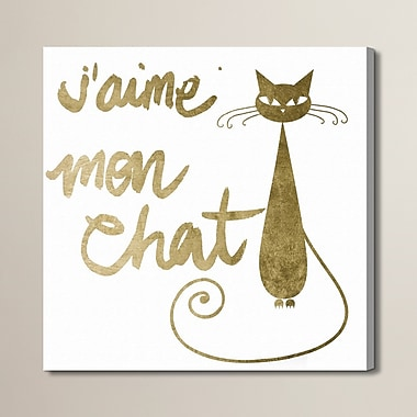 Brayden Studio 'Mon Chat' Graphic Art on Wrapped Canvas; 50'' H x 50'' W x 2'' D