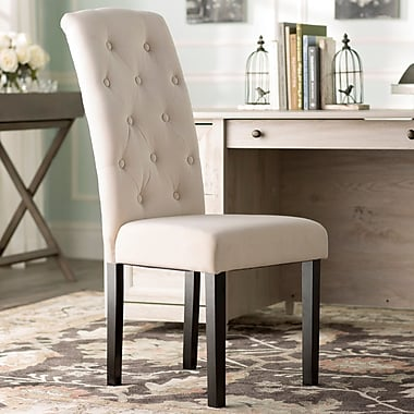 One Allium Way Oshiro Tufted Parsons Chair (Set of 2); Ivory Linen