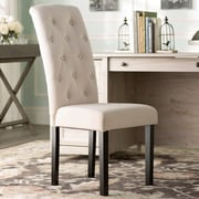 One Allium Way Oshiro Tufted Parsons Chair (Set of 2); Ivory Linen