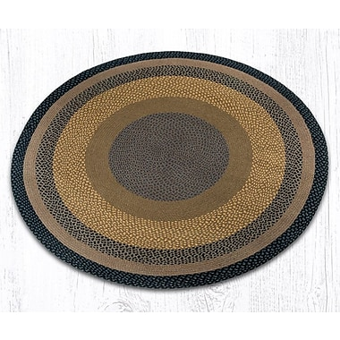 EarthRugs Braided Brown/Black Area Rug; Round 5'9''