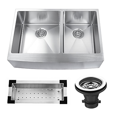 KBC 33'' x 22.25'' Stainless Steel Double Bowl Farmhouse Kitchen Sink