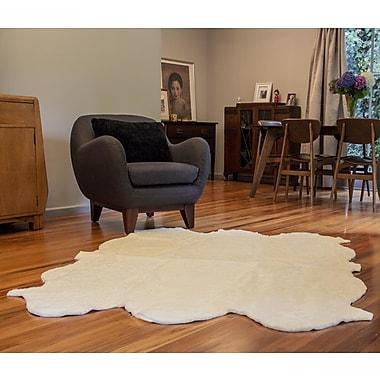 Bowron Sheepskin Curly Zealamb White Rug; Novelty 6' x 8'