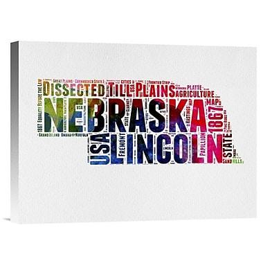 Naxart 'Nebraska Watercolor Word Cloud' Textual Art on Wrapped Canvas; 18'' H x 24'' W x 1.5'' D