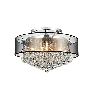 CrystalWorld 12-Light Semi Flush Mount; Clear Black