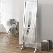 Inspired Home Co. Dazzle Full Length Jewelry Armoire w/ Mirror; Pristine White