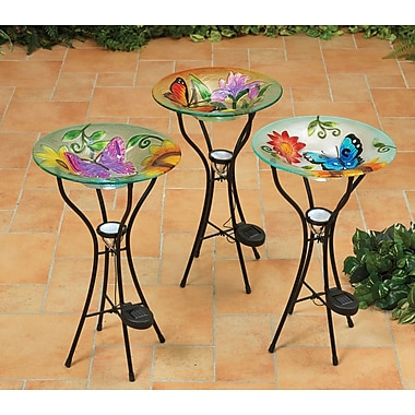 GEIN 3 Piece Butterfly Decorative Tray Bird Feeder Set