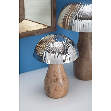 Cole & Grey Stainless Steel/Wood Mushroom Sculpture