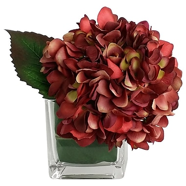 RG Style Artificial Silk Hydrangea Floral Arrangements in Decorative Vase; Rustic Red