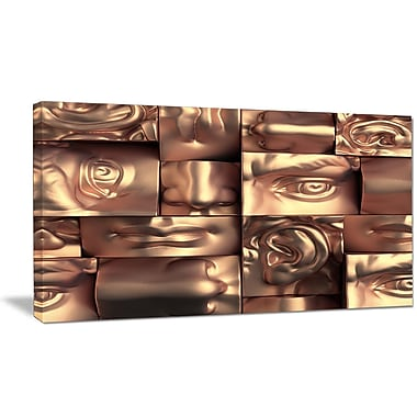 DesignArt 'Abstract Golden Blocks' Graphic Art Print on Wrapped Canvas; 12'' H x 20'' W x 1'' D