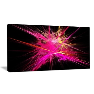 DesignArt 'Pink Fractal Chaos Multicolored Rays' Graphic Art Print on Wrapped Canvas