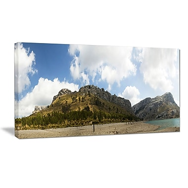 DesignArt 'Lake and Clouds Panorama' Photographic Print on Wrapped Canvas; 16'' H x 32'' W x 1'' D