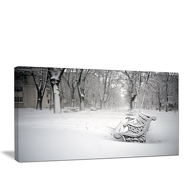 DesignArt 'Benches in Park Covered w/ Snow' Photographic Print on Wrapped Canvas