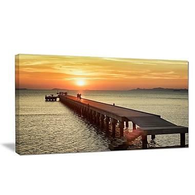 DesignArt 'Boat Pier at Sunset' Photographic Print on Wrapped Canvas; 30'' H x 40'' W x 1'' D