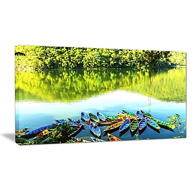 DesignArt 'Boats in the Lake Pokhara, Nepal' Photographic Print on Wrapped Canvas