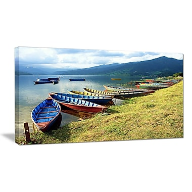 DesignArt 'Color Boats in Phewa Lake' Photographic Print on Wrapped Canvas; 20'' H x 40'' W x 1'' D