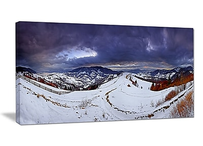 DesignArt 'Frosty Day in Mountains Panorama' Photographic Print on Wrapped Canvas