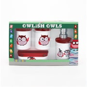 Immanuel Kid's Owl 4-Piece Bathroom Accessory Set; Candy Red