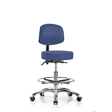 Perch Chairs & Stools Height Adjustable Doctor Stool w/ Foot Ring; Newport Fabric