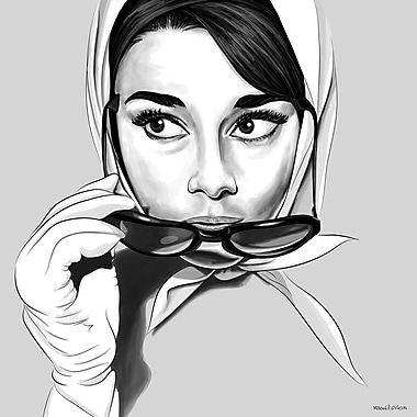 Maxwell Dickson Cat Eyes Audrey Graphic Art on Canvas; 48'' x 48''