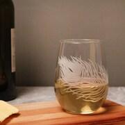 Rolf Glass Peacock 17 Oz. Stemless Wine Glass (Set of 4)