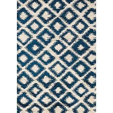 Brayden Studio Delgadillo Cream & Blue Diamonds Area Rug; 5'3'' x 7'7''