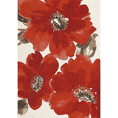 Red Barrel Studio Lyonsdale Red/Ivory Area Rug; 5'3'' x 7'7''