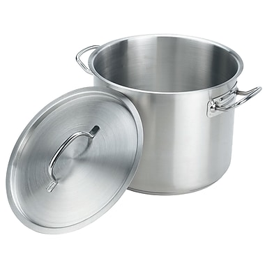 CRESTWARE Stainless Steel Stock Pot w/ Lid; 12 Qt.