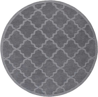 Charlton Home Blankenship Hand-Woven Charcoal Area Rug; Round 9'9''