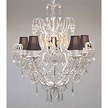 Rosdorf Park Clemence 5-Light Black Shade Candle-Style Chandelier