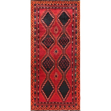 Pasargad Lori Vintage Lamb's Wool Runner Hand-Knotted Black/Red Area Rug