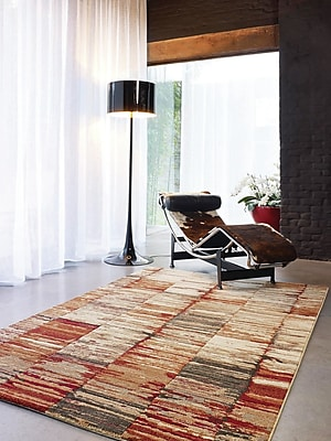 Varick Gallery Ballesteros Abstract Stripes Beige/Red Area Rug; 7'10'' x 10'10''