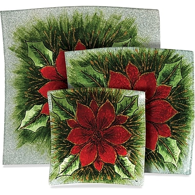 Angelstar Poinsettia Christmas 3 Piece Plate Set