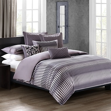 N Natori Abstract Stripe 3 Piece Reversible Duvet Cover Set; Queen