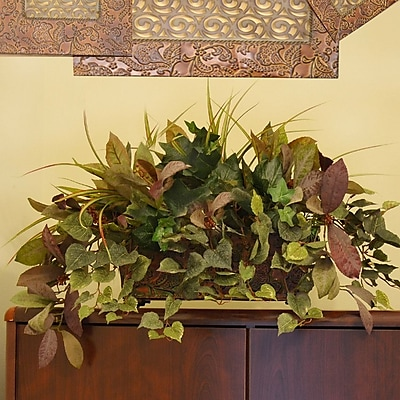 Floral Home Decor Mixed Silk Greenery Ledge Plant in Decorative Container