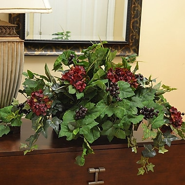 Floral Home Decor Silk Ledge Plant in Decorative Container