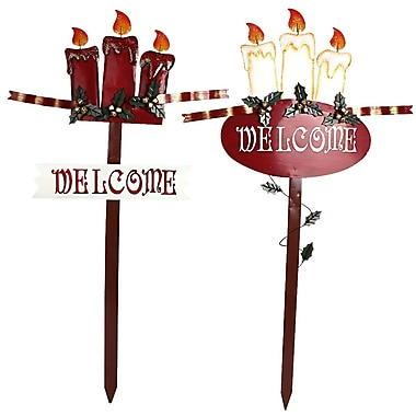 AttractionDesignHome Holiday Flames 2 Piece Welcome Stake Set