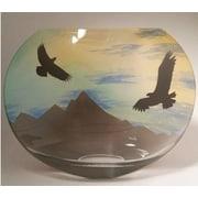 Womar Glass Eagle Mountain Scene Polish Art Vase