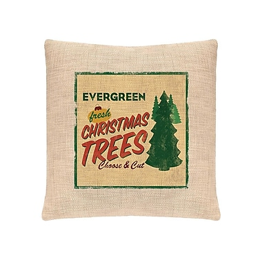 Heritage Lace Signs of Christmas Evergreen Throw Pillow