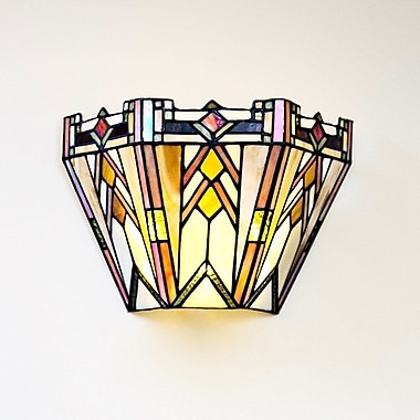 River of Goods Mission Style Stained Glass Wireless 9-Light LED Flush Mount