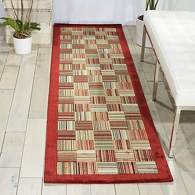 Winston Porter Hillhouse Beige/Red Area Rug; Rectangle 2'3'' x 3'9''
