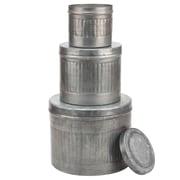 CKK Home D cor, LP Stonebriar 3 Piece  Aged Galvanized Metal Round Storage Boxes Set