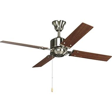 Latitude Run Chickamauga 54'' 4-Blade Fan; Brushed Nickel with Cherry / Natural Cherry Blades