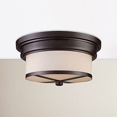 Latitude Run Raymond 2-Light Flush Mount; Oiled Bronze
