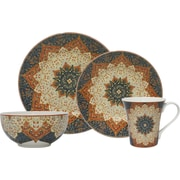 222 Fifth Kashan 16 Piece Dinnerware Set in Terracotta