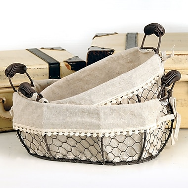 Blossom Bucket Oval Fabric Wire Basket w/ Handles Set (Set of 2)
