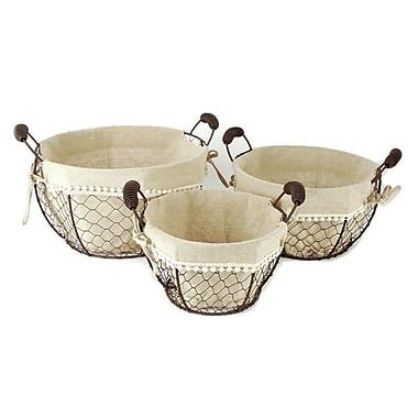 Blossom Bucket 3 Piece Round Basket w/ Fabric Handles Set