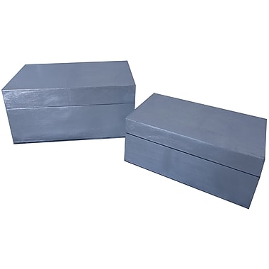 Cheungs 2 Piece Wood Leaf Box Set; Silver