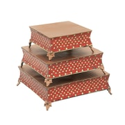 Cole & Grey Mosaic 3 Piece Cake Stand Set; Red/Gold