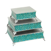 Cole & Grey Mosaic 3 Piece Cake Stand Set; Turquoise/Silver